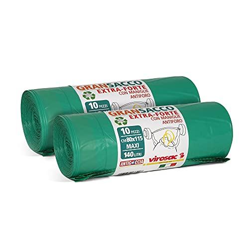 Virosac - Gransacco - Sacchi verdi 80x115, antiforo e con maniglie estraibili, ideali per...
