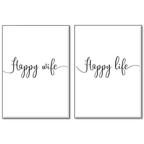 4Good Wandbilder Wohnzimmer als lustige Sprüche, Motivations Bilder fürs Büro oder die Küche, Bild mit Spruch als Schlafzimmer Poster ohne Rahmen (Happy Wife, A4)