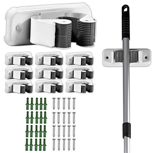 10x Besenhalter | Besen & Mop Halterung Gummi für die Wand | Besen Halter Set Stabil geeignet für die Garage | Hochwertige Gerätehalter Wandhalterung |Besen Halterung weiss für Stiel & Besen