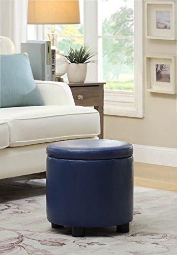 Convenience Concepts Designs4Comfort Round Accent Storage Ottoman, Blue