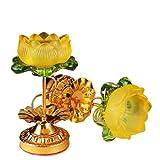 JONJUMP Lotus lámpara religiosa Buda suministros para luces de Buda de alta pierna de aleación de vidrio de imitación de mantequilla titular de la lámpara de vela