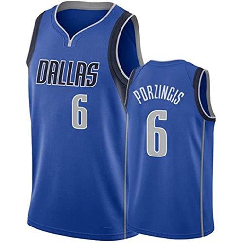 LXZ Dallas Mavericks Kristaps Porzingis # 6 Basketball-Trikot, V-Ausschnitt, ärmellos, Netzstoff, Sweatshirt, für Herren und Erwachsene (S-XXL), blau-XL
