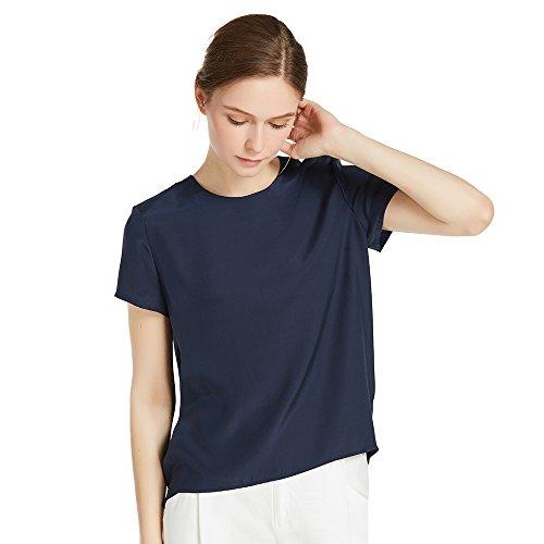 LilySilk Seide Damen Hemdbluse Kurzarm Bluse Hemd Tunika 22 Momme Blau XXL Verpackung MEHRWEG