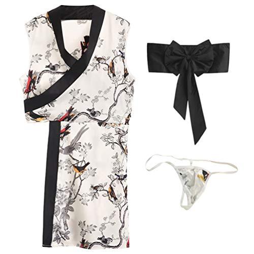 LUOEM Vestido de Lencería de Kimono Poliéster Estampado con Nudo de Lazo Bata Japonesa Ropa Sexy Disfraz de Cheongsam Conjunto de Ropa Interior de Anime Pijama para Cosplay de rol