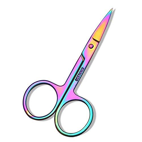 YANSHG® Rainbow Acier Inoxydable Bords Courbes Ciseaux Sourcils beauté Outil de Maquillage Ciseaux à Sourcils