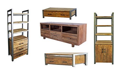 OPIUM OUTLET Teakholz Möbel massiv 11-teiliges Paket mit TV-Kommoden Sideboards Anrichten Regalen Coffeetable Vintage Kolonial Stil