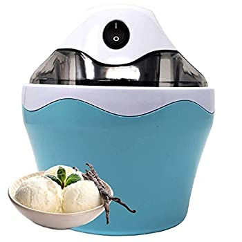 UKN Bpa Free Electric Mini Ice Cream Maker 16 Oz  1 Pint  with Anti Skid Bottom Make Quick Easy Home Made Cream Blue Abs