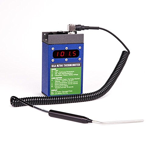 """Cattle Thermometer with 4"""" Angled Probe. GLA M700 Digital Veterinary Thermometer. Fast, high-accuracy readings in 8-15 seconds. Built tough for dairies & feedlots. Large easy-read LCD & 6 ft cable."""