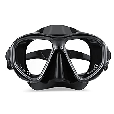 Anti-Fog Scuba Dive Mask,Anti-Leak Tempered Glass Snorkel Diving Mask for Snorkeling, Free Diving Tempered Glass Goggles, Food Grade Silicone and Strap Quick Adjusting Goggles for Women and Men