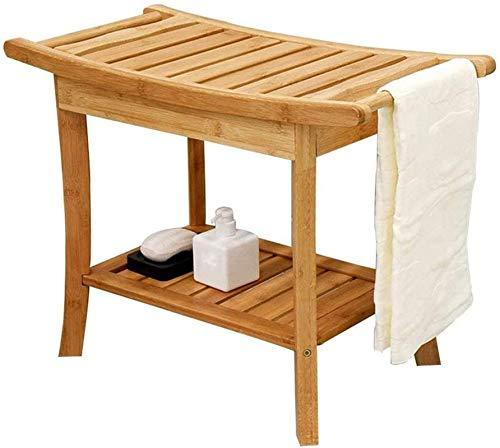 Silla/Taburete de baño y Ducha, Banco de asiento de ducha de bambú, Taburete de asiento de baño a prueba de agua con estante de teca y almacenamiento de brazo, silla de spa para uso en interiores o ex