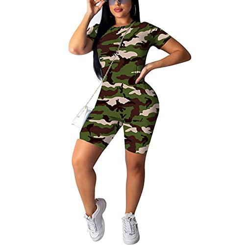 Conjunto de ropa de yoga sexy de camuflaje de 2 piezas para entrenamiento, camiseta deportiva y pantalones cortos