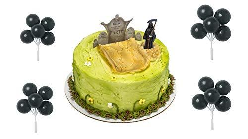 Grim Reaper & Gravestone Cake Topper PLUS 4 Black Balloon Picks