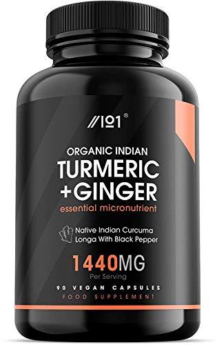 Organic Indian Turmeric, Ginger & BioPerine - Freeze Dry Native Indian Curcuma Longa with Black Pepper - Non-GMO, Gluten Free, 90 Vegan Capsules