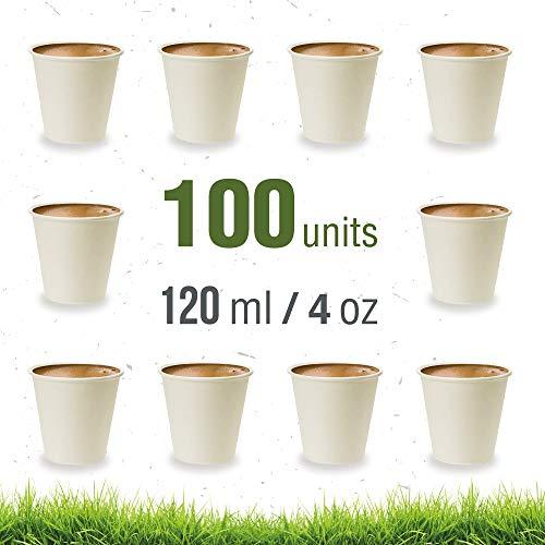 Soul Forest - Vasos Reciclables de Cartón 120 ml - Pack de Vasos Desechables Biodegradables para Café Solo, Café Cortado o Café Expresso - 100 Unidades