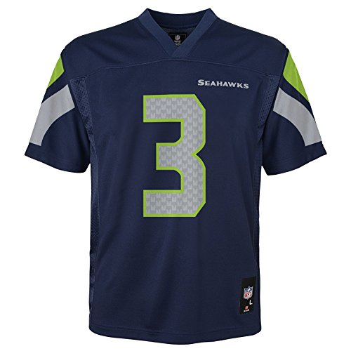 NFL Youth Boys 8-20 Russell Wilson Seattle Seahawks Boys -Player Name Jersey, Dark Navy, M(10-12)