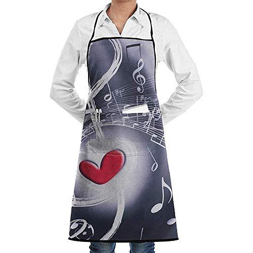 U0026, niet geschikt voor de keuken Aprons muziek, rood hart, rugzak, sporttas, yoga, hardloper, dagrugzak, herenschort, barbecue, keukentuin, dames, vriend, koken, leuk geschenk voor vrouwen