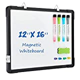 Small Dry Erase White Board, Tankee 12' x 16' Magnetic Hanging Whiteboard for Wall Portable Mini Double-Sided Easel Hold in Hand for Kids Drawing, Kitchen Grocery List, Memo Board.