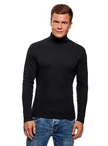 oodji Ultra Hombre Suéter de Cuello Alto Básico de Algodón, Negro, ES 52-54 / L