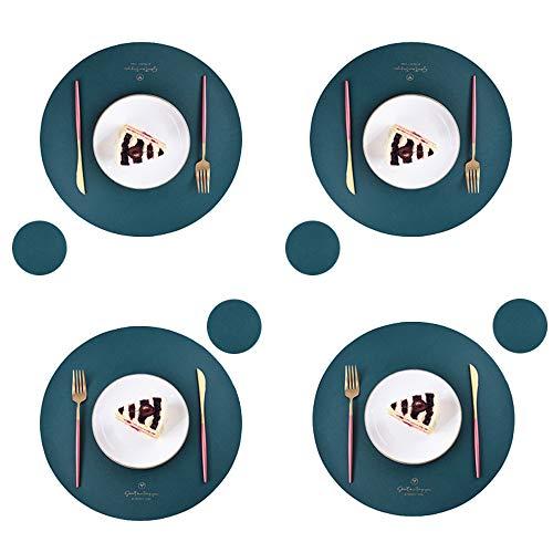 Set di 4 tovagliette e sottobicchieri rotondi in pelle PU, impermeabili, facili da pulire per la cucina e il pranzo tavola rotonda (verde)