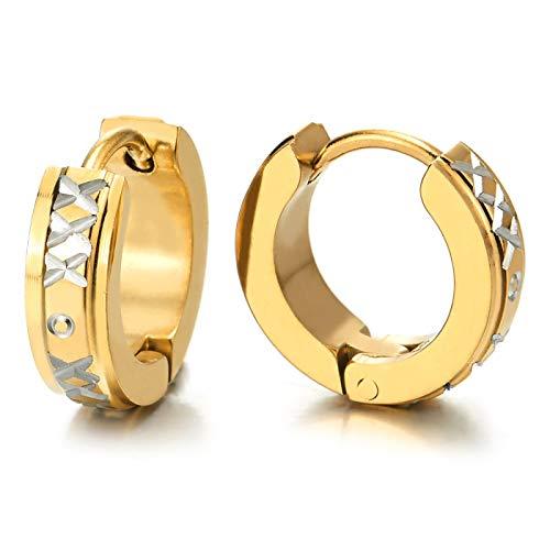 2 Pequeño Oro Pendientes del Aro con Acanalados X Cruz Círculo Patrones Láser, Pendientes para Hombres Mujer, Acero