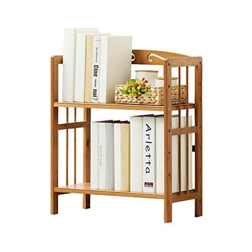 Petite étagère en bois massif sur pied, étagère de rangement simple à double couche en bambou (Color : Natural)