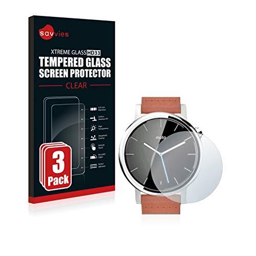 Savvies Panzerglas kompatibel mit Motorola Moto 360 42 mm (2. Generation) (3 Stück) - Echt-Glas, 9H Festigkeit, Anti-Fingerprint