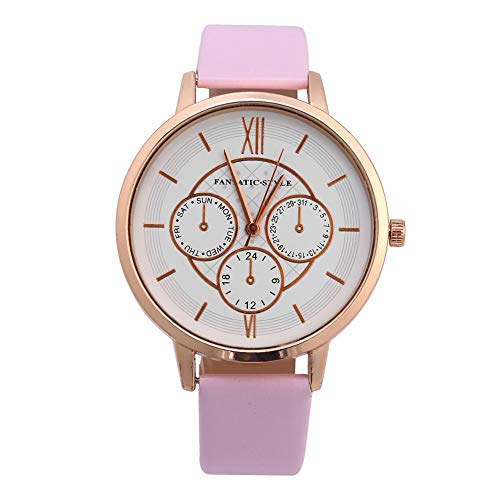 Jopwkuin Relojes de Cuarzo analógicos, Correa de Reloj de PU Duradera, 3 esferas pequeñas para Que Tus Amigos o Familiares reconozcan el Tiempo(Rose Gold Frame Pink)