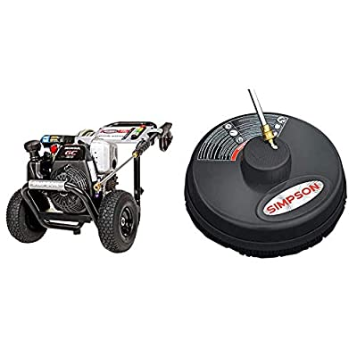 """Simpson Cleaning MSH3125 MegaShot Gas Pressure Washer Powered by Honda GC190, 3200 PSI at 2.5 GPM, Black & 80165, Rated Up to 3700 PSI Universal 15"""" Steel Surface Scrubber, Plain"""