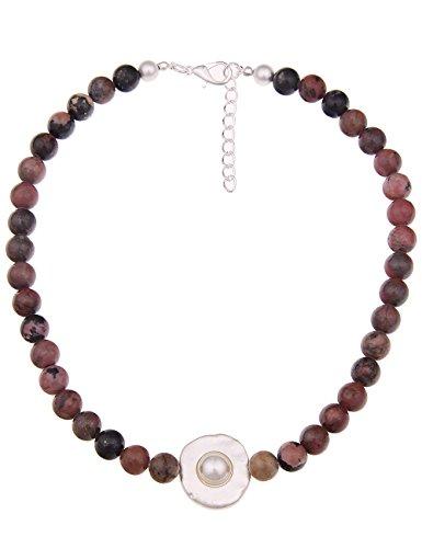 Leslii Kurze Damen Kette, Agate Naturstein Perlenkette, mit Anhänger, braune Modeschmuck Collier Halskette, echte Steine in Rot und Braun, 48cm