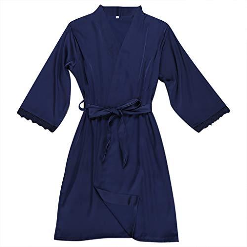 YOCheerful Women Lingeries Sexy Silk Lace Sleepwear Robe Long Sleeve Lingerie Underwear Floral Lingeries(Navy, 2XL)