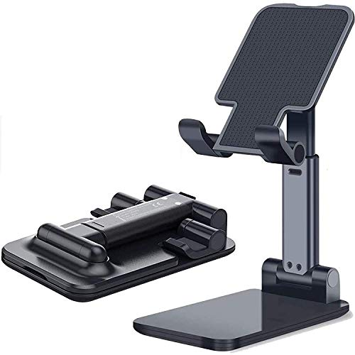 SHRI Mobile Phone Folding Stand, Adjustable Portable Phone Stand Phone Holder for Desk, Desktop Tablet Stand Compatible with Mobile Phone/iPad/Tablet/Kindle (Folding Stand, Black & White