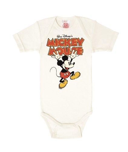 Logoshirt Body pour bébé Mickey Mouse - Disney - Mickey Mouse - Hands Up - Gigoteuse - Blanc Antique - Design Original sous Licence, Taille 98/104, 2-4 Ans