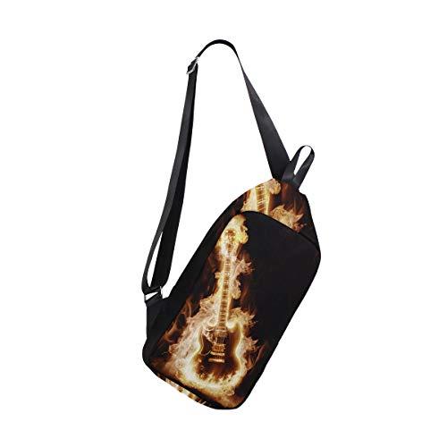 EZIOLY Schulter-Rucksack mit elektronischer Gitarre, mit Flammen, für Reisen, Wandern, Tagesrucksack für Männer und Frauen