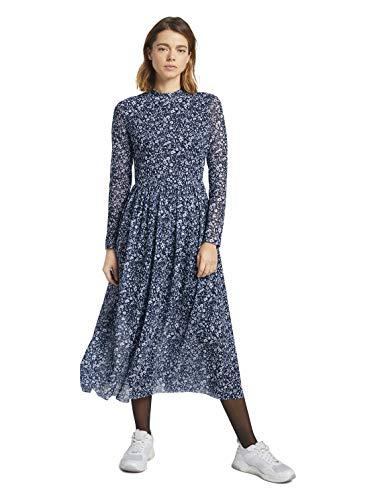 TOM TAILOR Denim Damen 1024509 Mesh Kleid, Blue Flower Print, M
