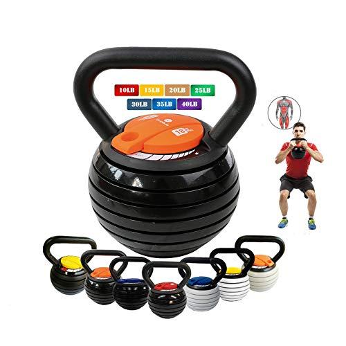 10-40LBS Kettlebell Weights Set, Adjustable Kettle Bells Weight Sets for Men Women Strength Training Exercise, 10 15 20 25 30 35 40 lbs Kettlebells, Home Fitness Gym Equipment,Black+Qrange