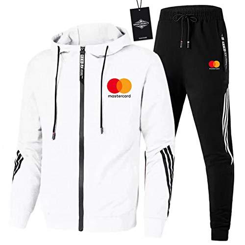 MQJUNZE de Los Hombres Chandal Conjunto Trotar Traje MAST_ERCARD-s Hooded Zipper Chaqueta + Pantalones Deporte X/Blanco/L