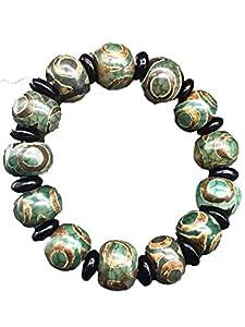 ZHIBO Tibetisches Armband mit alten Dzi Perlen Achat Halskette Buddha Perlen Herren Damen Schmuck