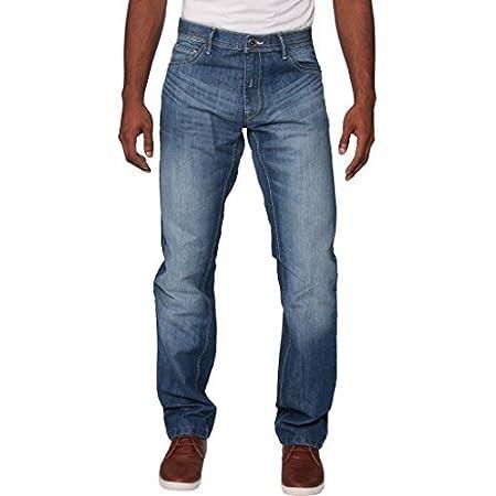 New Mens Enzo Regular Fit Straight Denim Blue Jeans Pants All Waist Sizes Light Stone Wash 34 W X32L