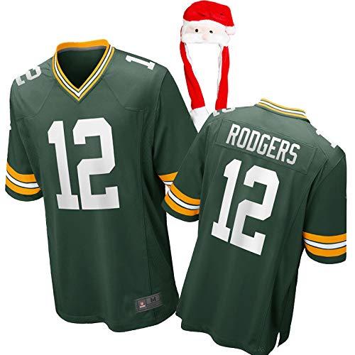 HUAML Rodgers Rugbyspieler-Trikot für Damen und Herren, #12, American Football, Fan-Shirt + Weihnachtsmütze (XS - XXXXL) Gr. L, Männer