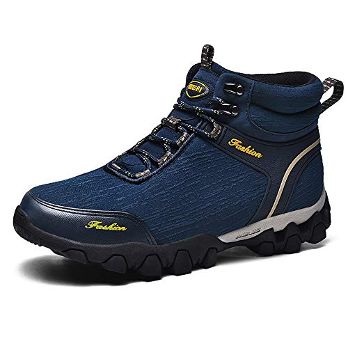 Govicta Premium Waterproof Work Boots for Men Men's Winter Hiking Ankle Boots Casual Trekking Lace-up Shoes Blue Size 8.5