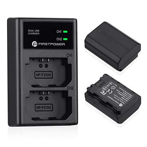 FirstPower NP-FZ100 Camera Battery 2-Pack and Dual USB Charger Compatible with Firmware 2.0 Sony A7III A7R III A9 A6600 A7RIV A9II A9R A9S