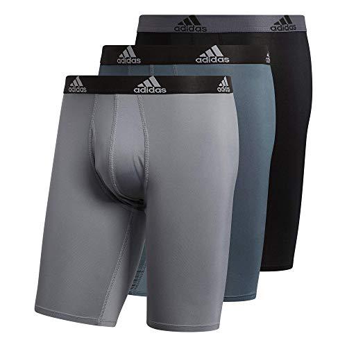 adidas Men's Performance Long Boxer Brief Underwear (3-Pack), Onix Grey/Black/Grey, X-Large