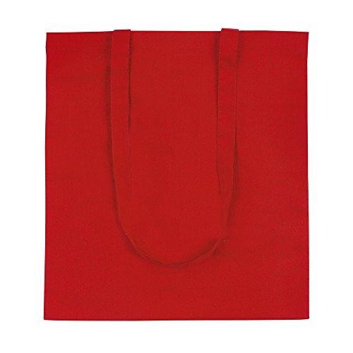 eBuyGB Pack de 10 bolsas de algodón para compras y playa, 42 cm, Red (Rojo) - 1206005-10a