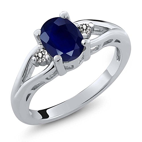 Gem Stone King 925 Sterling Silver Blue Sapphire and White Diamond 3-Stone Women's Engagement Ring (1.86 Ct Oval) (Size 7)