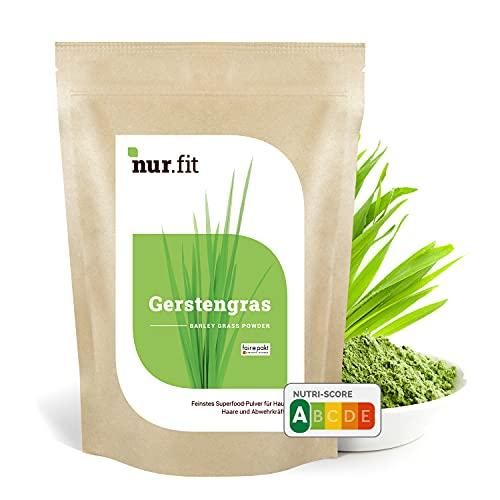 nur.fit Gerstengras Pulver 1kg - reines Gerstengras Green-Smoothie-Pulver aus schonender Herstellung ohne Zusatzstoffe –Gerstengras in Rohkostqualität mit Vitaminen & Mineralstoffen