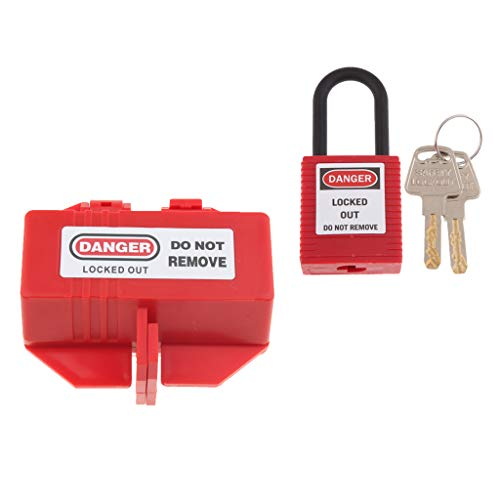 Almencla Steckerschloss Stromstecker Lockout Box aus Hochwertigem PP-Kunststoff mit Vorhängeschloss und Schlüssel