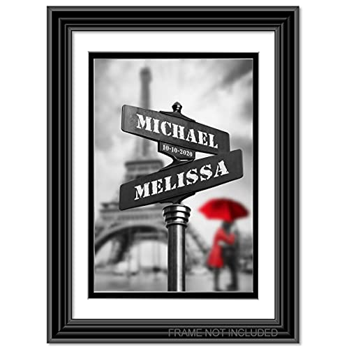 Lovers path-crossing sign - Personalized artwork with Couple's Names and date on, wedding Anniversary gift, Valentine's Day gift.