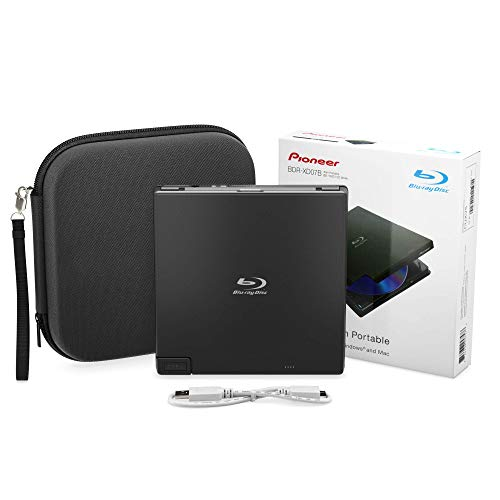 Pioneer BDR-XD07B Portable Burner & DVD Player - 6X Slim External BDXL, BD, DVD & CD Drive for Windows & Mac w/ 3.0 USB - CD Player -Write & Read on Laptop or Desktop w/Carry Case (Black)