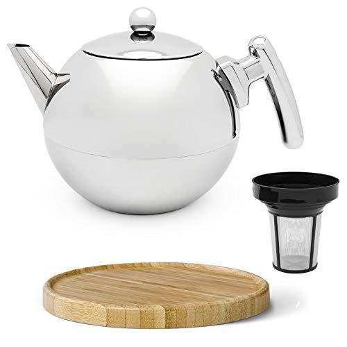 Bredemeijer Silberne doppelwandige Edelstahl Teekanne Set 1.2 Liter & runder brauner Holzuntersetzer & Teefilter