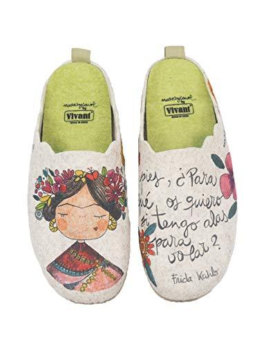 Pantuflas Zapatillas de Estar en casa para Mujer Invierno Vivant 192571 Beig - Color - Beige, Talla - 39